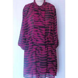 NEW COLLECTIVE CONCEPTS  PINK BLACK SHIRTDRESS L